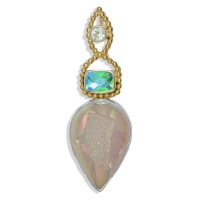 Opalized Window Druzy, Caribbean Quartz & Swiss Blue Topaz Pendant with Vermeil Beadwork