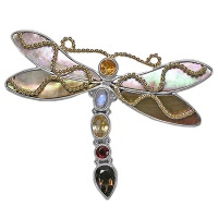 Multi-Gemstone Silver Dragonfly Pin/Pendant