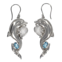 Sterling Dolphin Earrings with Rainbow Moonstone and London Blue Topaz