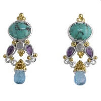 Turquoise Multi-Stone Vermeil Earrings