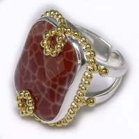 Fire Agate Ring with Vermeil Accents