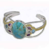 Turquoise, Amethyst, Blue Topaz and Moonstone Cuff Bracelet with Vermeil