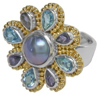 Blue Mabe Pearl, Iolite & Swiss Blue Topaz Vermeil Ring