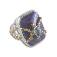 Lapis Ring with Blue Topaz and Vermeil