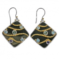 Black Shell Earrings with London Blue Topaz, Apatite, Swiss Blue Topaz, Iolite and Vermeil