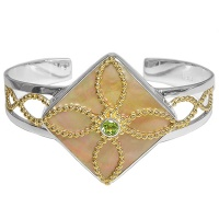 Golden Shell & Peridot Two-Tone Cuff Bracelet
