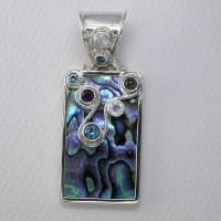 Paua Shell Pendant with Rainbow Moonstone, London Blue Topaz, Iolite, Swiss Blue Topaz and Amethyst