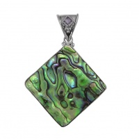 Paua Shell and Iolite Sterling Silver Pendant