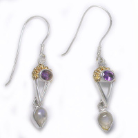 Amethyst and Rainbow Moonstone Dangle Earrings With 22K Vermeil Beadwork