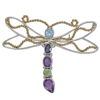 Multi-Gemstone Vermeil Dragonfly Pin/Pendant