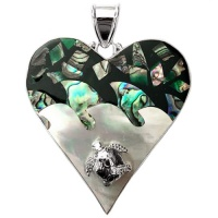 Mother of Pearl and Paua Shell Heart Pendant with Silver Sea Turtle
