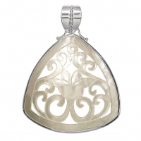 Carved Mother of Pearl Shell Lotus Flower Silver Pendant w/Bezel