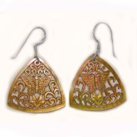 Hand Carved Golden Shell Butterfly and Lotus Flower Earrings