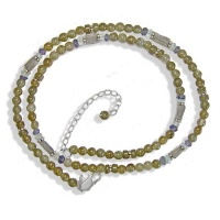 Labradorite Beaded Necklace with Iolite and Aquamarine