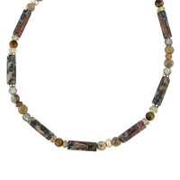 Leopard Skin Jasper, Smoky Quartz, and Peach Pearl Beaded Neckace