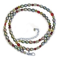 Gray Pearl Silver Necklace with Labradorite and Garnet