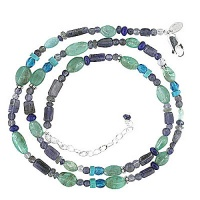 "Iolite, Apatite, Lapis, Turquoise, Labradorite and Blue Crystal Beaded Necklace 18"" + 2"" Ext"