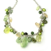 Jade, Green Pearl, Citrine, Ocean Jasper, and Moss Agate Charm Necklace