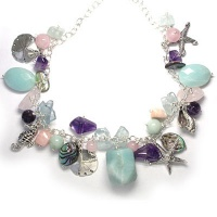 Sea Shell Charm Necklace with Multi Gemstones