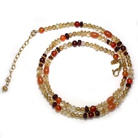 Vermeil Accented Beaded Necklace with Citrine, Garnet, Carnelian