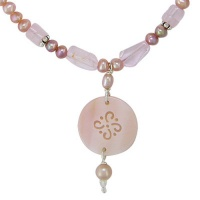 Pink Pearls and Rose Quartz Necklace with Shell Charm