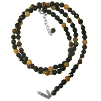 "Onyx, Tiger Eye, Jasper and Quartz Beaded 18"" Necklace with 2"" Silver Extension"