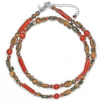 Tiger Eye, Garnet, Red Jasper Beaded Necklace
