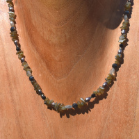 Labradorite Beaded Necklace with Grey Pearl, Hematite, and Onyx