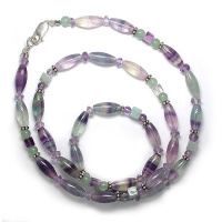 "Fluorite, Amethyst and Aventurine Beaded Necklace 18"" + 2"" Ext"