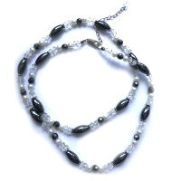 "Hematite, Pearl, and Crystal Beaded Necklace 22"" + 2"" Ext"