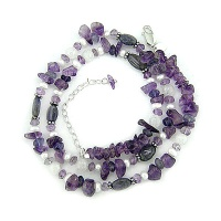 Beaded Necklace with Amethyst and More