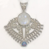 Rainbow Moonstone & Created Opal Pendant
