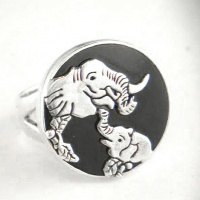 Sterling Silver Elephant Ring with Black Shell
