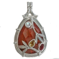 Bamboo Motif Pendant with Fire Agate, Fire Opal, Citrine and Rainbow Moonstone