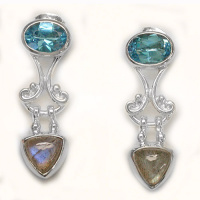 London Blue Topaz and Labradorite Post Earrings