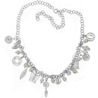 Sterling Silver Filigree Charm Necklace with Freshwater Pearls