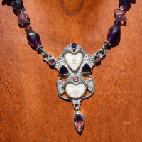 Double Goddess with Amethyst, Iolite, and Pink Tourmaline on Beaded Necklace