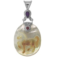 Multi Colored Mother of Pearl Horse Pendant with Amethyst and Pink Tourmaline