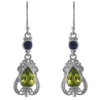 Peridot & Iolite Silver Dangle Earrings