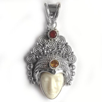 Godess Pendant with Mexican Fire opal and Citrine