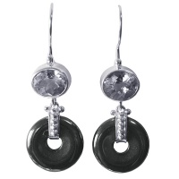 Hematite Disk Dangle Earrings with White Topaz