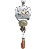 Carved Horse, Rutilated Quartz, Amber & Smoky Quartz Pendant