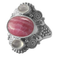 Love & Friendship Rhodocrosite & Moonstone Ring