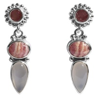 Rhodocrosite, Watermelon Blush Quartz, & Moonstone Earrings