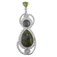 Labradorite, Kyanite, & Peridot One-Of-A-Kind Pendant