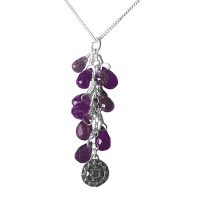 Amethyst Chakra Necklace with Silver Charm