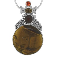 "Tiger Eye Sleeping Cat Pendant with 18"" Chain"