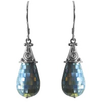 Mosaic Aqua Mother of Pearl Earrings