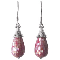 Pink Mosaic Mother of Pearl Shell Earrings