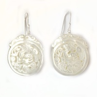 Mother of Pearl Carved Dragon Dangle Earrings